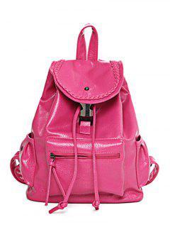 PU Leather Weaving Solid Color Satchel - Rose Madder