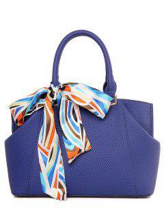 Bufanda De Cuero De La PU Del Color Sólido De La Bolsa De Asas - Azul