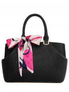 Scarf PU Leather Solid Color Tote Bag - Black