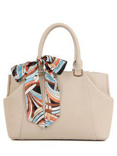 Scarf PU Leather Solid Color Tote Bag - Off-white