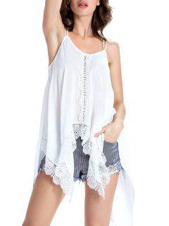 Irregular Hem Spaghetti Straps Tank Top - White Xl