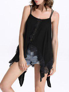 Irregular Hem Spaghetti Straps Tank Top - Black Xl