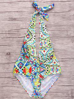 Geometric Pattern Plunging Neck One Piece Swimwear - S