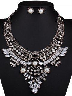 Collar Y Pendientes En Forma De Lágrima De Cristal De La Perla De Faux - Plata