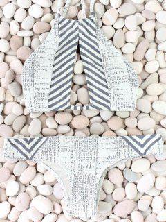 Striped Cutout Bikini Set - Gray L
