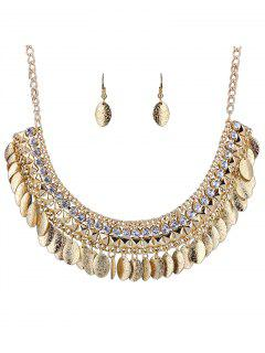 Oval Tassel Necklace And Earrings - White