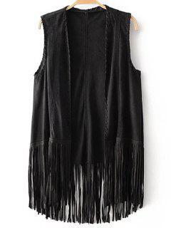 Tassels Faux Suede Collarless Waistcoat - Black S