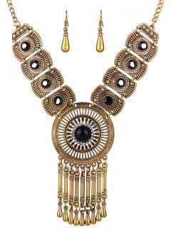 Faux Gem Hollowed Tassel Necklace And Earrings - Black