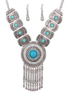 Faux Gem Hollowed Tassel Necklace And Earrings - Blue