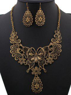 Hollowed Butterfly Flower Necklace And Earrings - Golden
