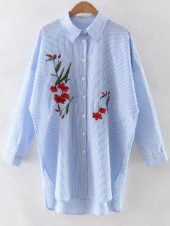 Camisa Floral Bordado Banda De Manga Larga - Azul S