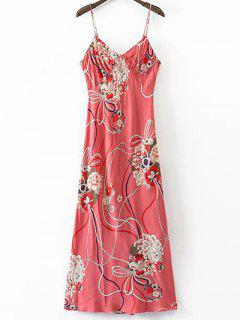 Floral Cami Open Back Dress - L
