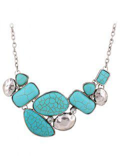 Faux Turquoise Geometric Necklace - Blue