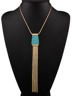 Faux Turquoise Tassel Necklace - Blue