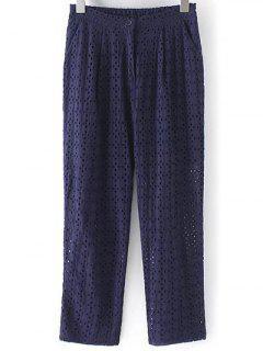 Hollow Out Solid Color Pants - Purplish Blue M