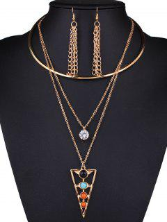 Rhinestone Triangle Tassel Necklace And Earrings - Golden