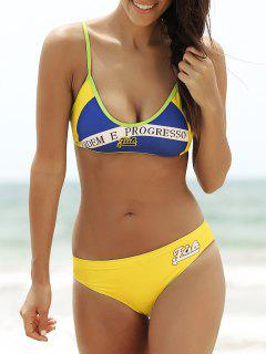 Brazilian Flag Bikini Sporty Patriotic Swimwear - Blue And Yellow S