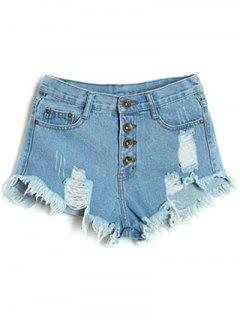 Button Fly Ripped Denim Shorts - Light Blue S
