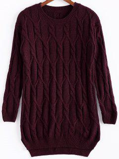 Argyle Solid Color Long Sleeve Sweater - Claret