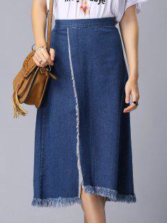 Solide Couleur Haute Slit Taille Haute A-Line Jupe En Denim - Bleu S