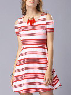 Striped Scoop Neck Short Sleeve Cold Shoulder Dress - Red M