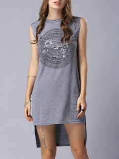 High-Low Printed Round Neck Sleeveless Dress - Gray S