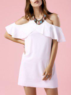 Vestido De Cami De Manga Corta Color Sólido Fría - Blanco S
