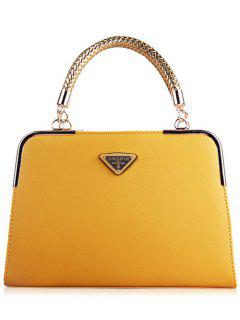 Candy Color PU Leather Tote Bag - Yellow