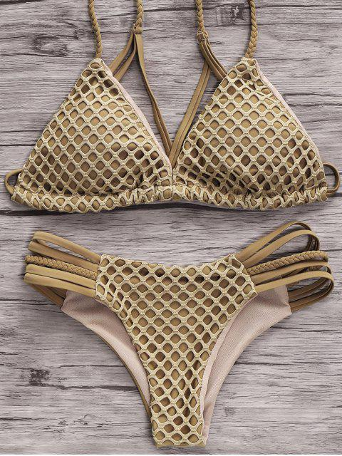 affordable Solid Color Spaghetti Straps Mesh Bikini Set - GREY OLIVE L Mobile