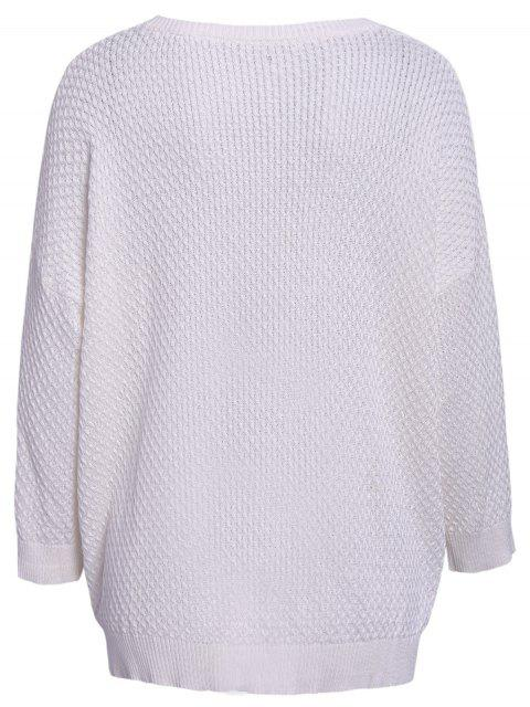 sale Solid Color 3/4 Sleeve Sweater - WHITE ONE SIZE(FIT SIZE XS TO M) Mobile