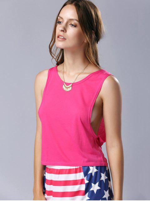outfit U Neck Pure Color Cut Out Tank Top - ROSE XL Mobile