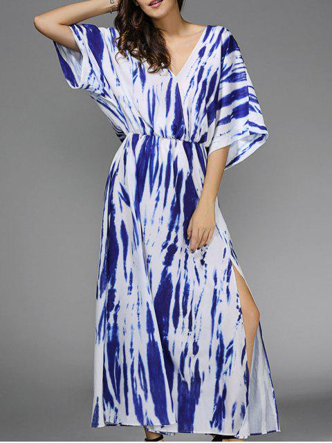women Blue Print Plunging Neck 3/4 Sleeve Maxi Dress - BLUE S Mobile
