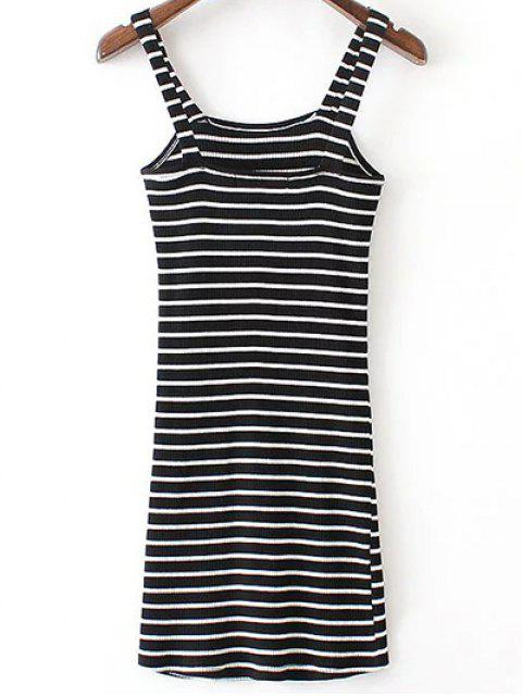 unique Fitted Striped Straps Sleeveless Dress - BLACK S Mobile