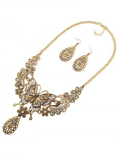 shop Hollowed Butterfly Flower Necklace and Earrings - GOLDEN  Mobile