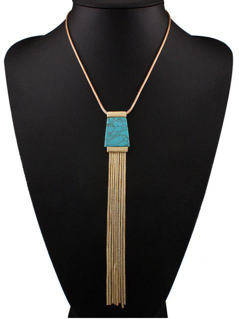 women Faux Turquoise Tassel Necklace - BLUE  Mobile