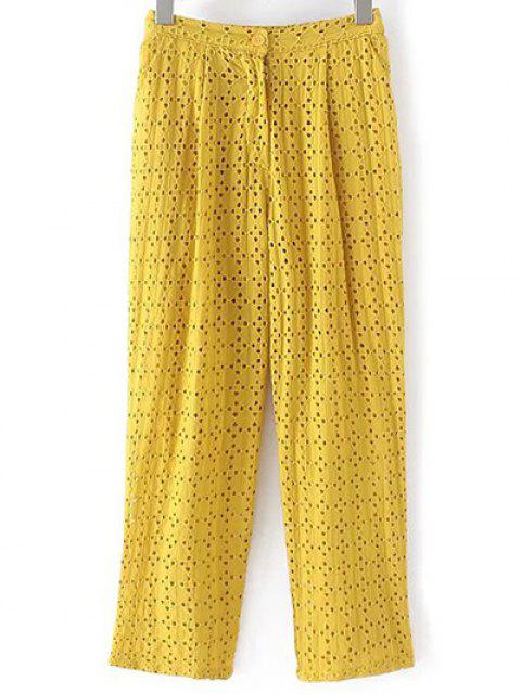 outfits Hollow Out Solid Color Pants - YELLOW M Mobile