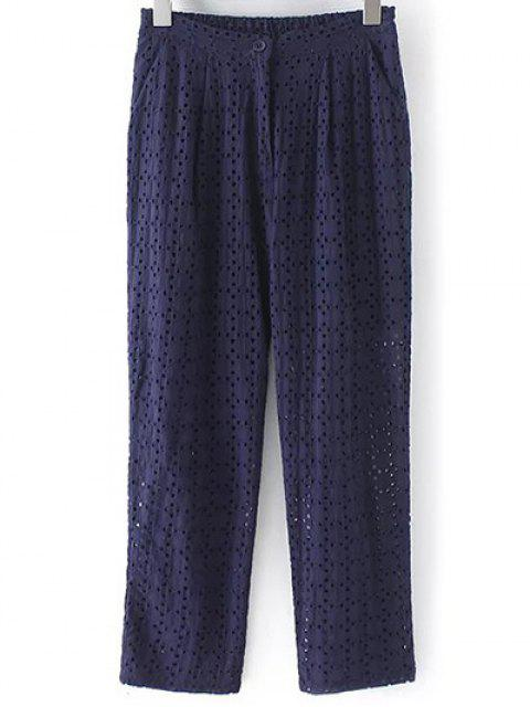 latest Hollow Out Solid Color Pants - PURPLISH BLUE M Mobile