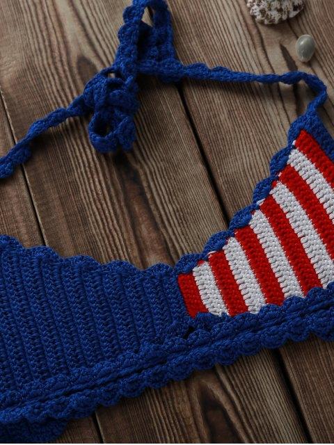 lady American Flag Crochet Bikini Set - BLUE AND RED M Mobile