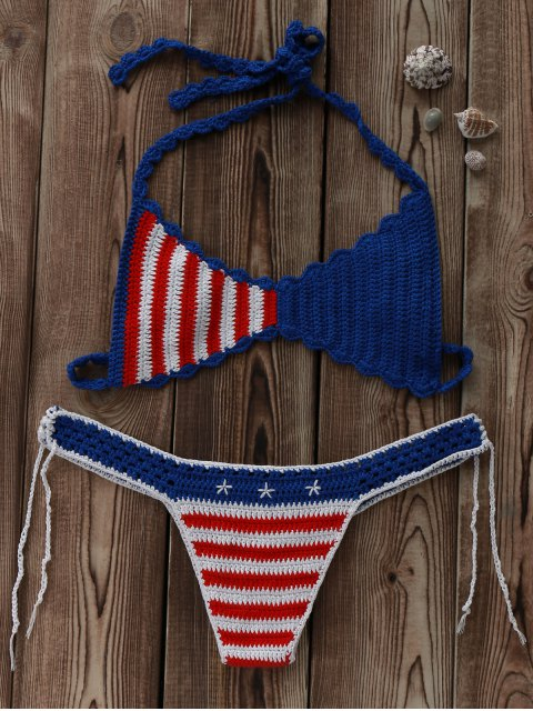lady American Flag Crochet Bikini Set - BLUE AND RED M Mobile