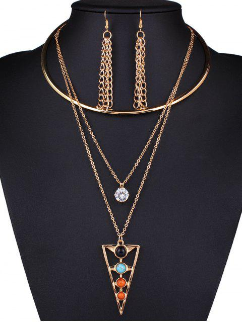 new Rhinestone Triangle Tassel Necklace and Earrings - GOLDEN  Mobile