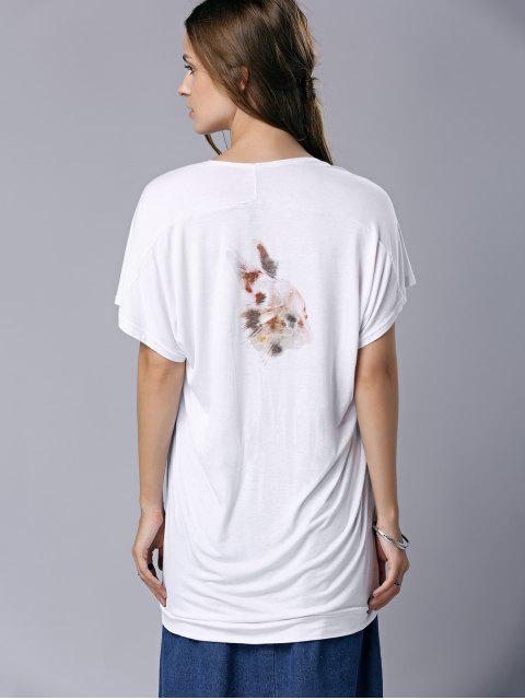 womens U Neck Letter Print Short Sleeve T-Shirt - WHITE M Mobile