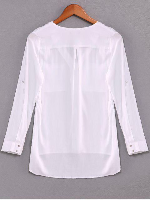women Single-Breasted V-Neck High Low Shirt - WHITE L Mobile