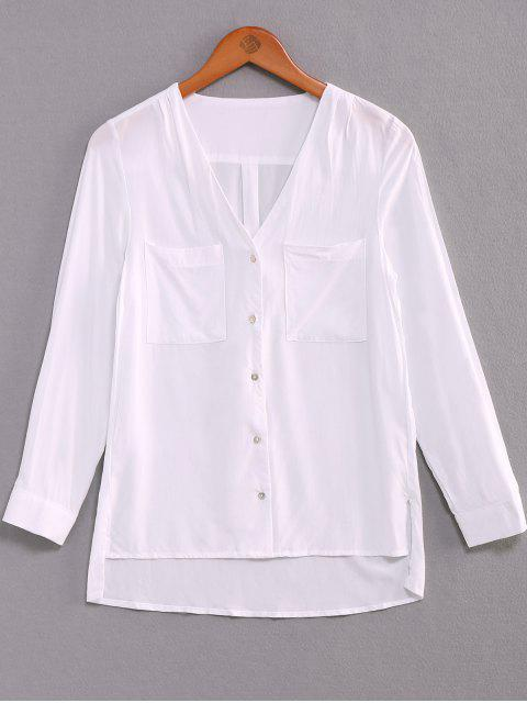 womens Single-Breasted V-Neck High Low Shirt - WHITE M Mobile