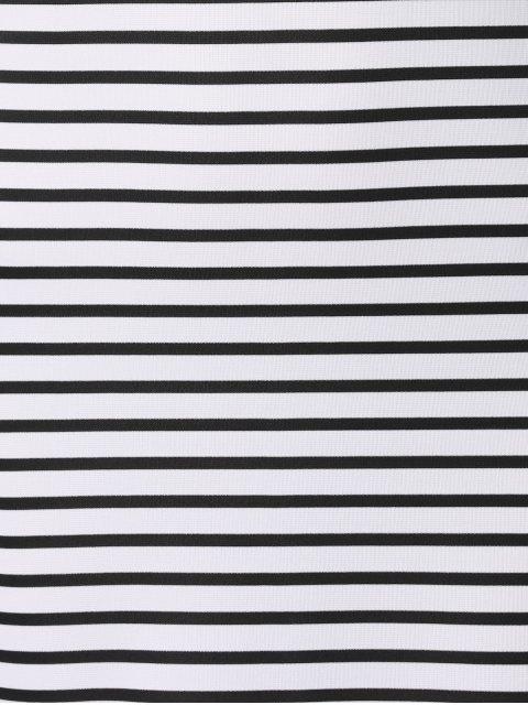 hot Striped High Slit Spaghetti Straps Sleeveless Dress - WHITE AND BLACK XL Mobile