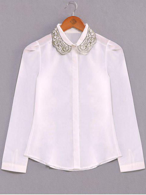 women's Embroidery Collar Loose Shirt - WHITE L Mobile