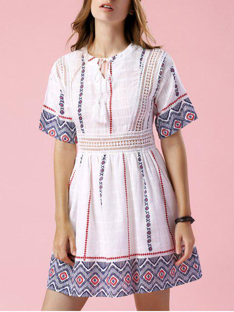 affordable Printed Openwork White Dress - WHITE M Mobile