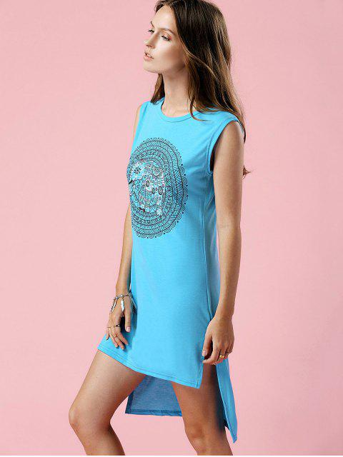 buy High-Low Printed Round Neck Sleeveless Dress - TURQUOISE S Mobile