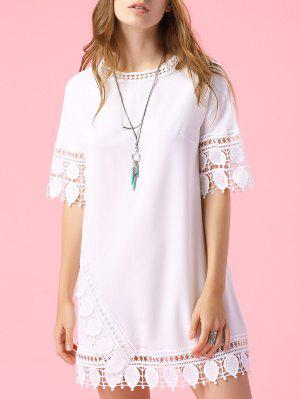 Short Sleeve Lace Trim Dress - White L