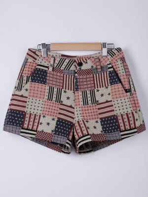 American Flag Shorts - Flaxen S