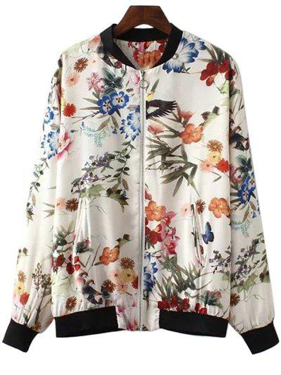 Full Floral Stand Neck Long Sleeve Jacket - COLORMIX S